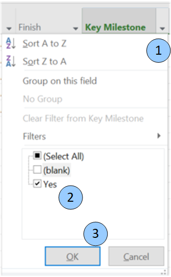 Contents of filter drop down