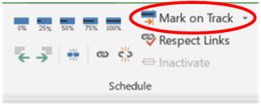 Mark on track button