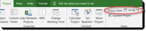 Setting project status date