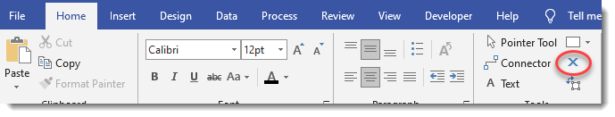 Highlighting the connection tool in Visio