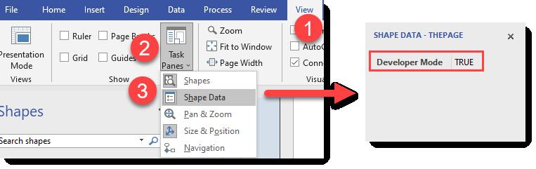 Display shape data task pane