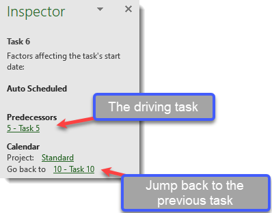Inspector hyperlinks to move around the plan